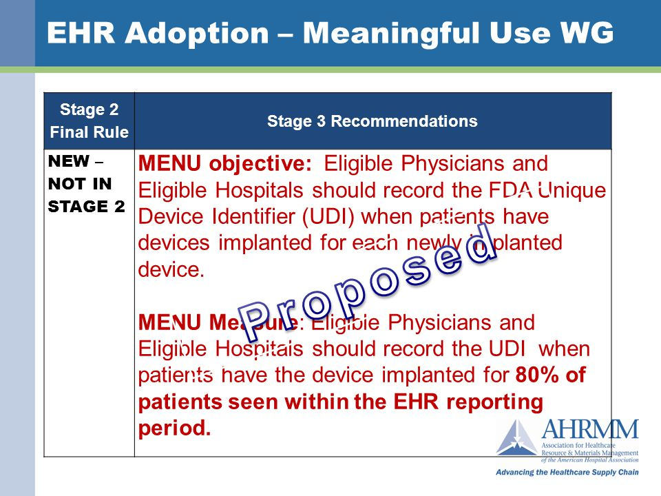 EHR Adoption – Meaningful Use WG Stage Stage 2 Final Rule Stage 3 Recommendations NEW – NOT IN STAGE 2 MENU objective: Eligible Physicians and Eligible Hospitals should record the FDA Unique Device Identifier (UDI) when patients have devices implanted for each newly implanted device.