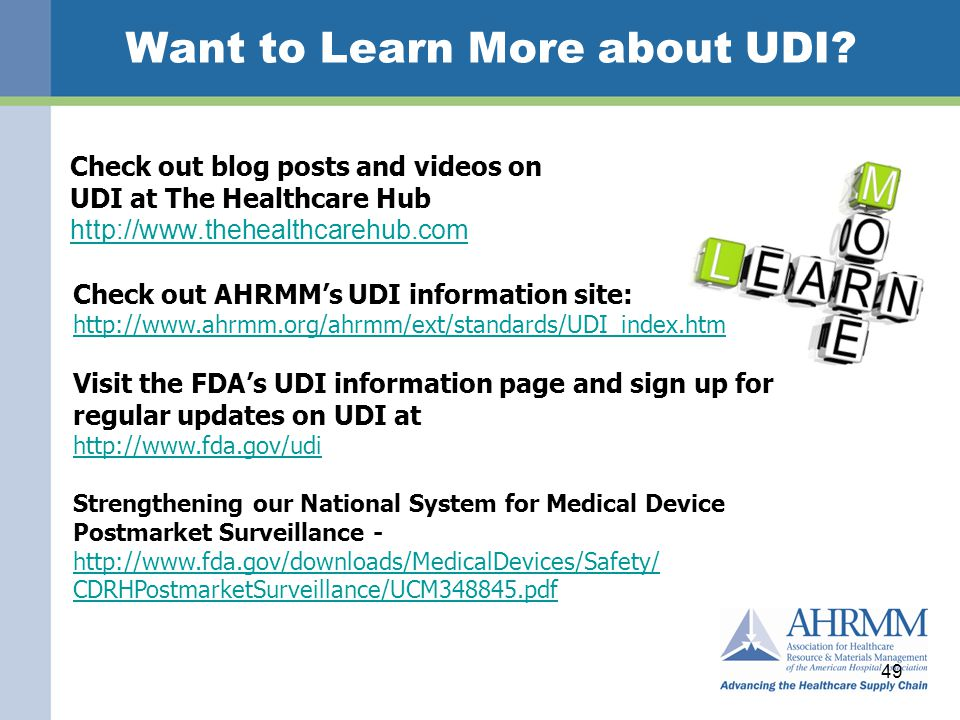 Want to Learn More about UDI.