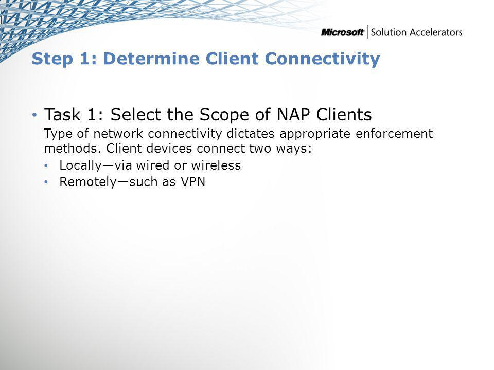 Step 1: Determine Client Connectivity Task 1: Select the Scope of NAP Clients Type of network connectivity dictates appropriate enforcement methods.