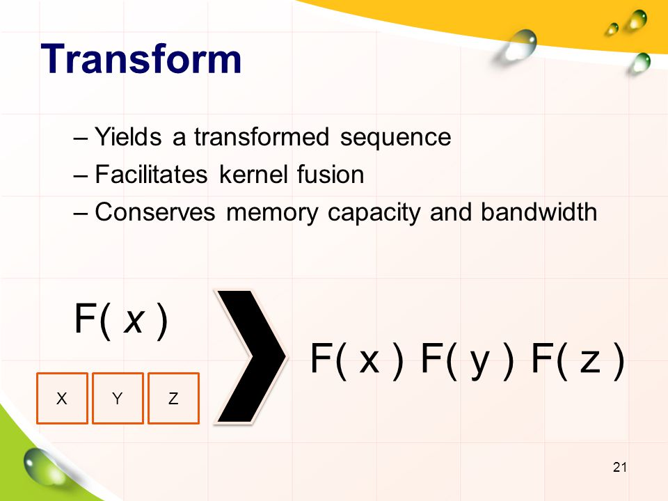 Transform –Yields a transformed sequence –Facilitates kernel fusion –Conserves memory capacity and bandwidth 21 XYZ F( x ) F( y )F( z )
