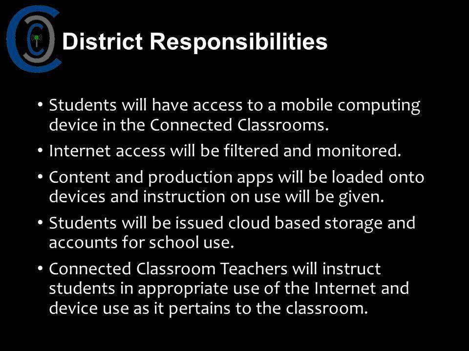 Students will have access to a mobile computing device in the Connected Classrooms.