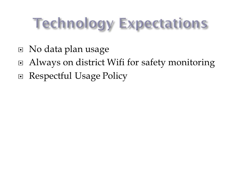 No data plan usage Always on district Wifi for safety monitoring Respectful Usage Policy