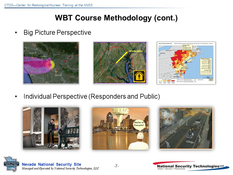 Managed and Operated by National Security Technologies, LLC Nevada National Security Site CTOSCenter for Radiological/Nuclear Training at the NNSS WBT Course Methodology (cont.) Throughout course, provides information and links for guidance and reference: –Documents –Organizations –Best Practices -8-