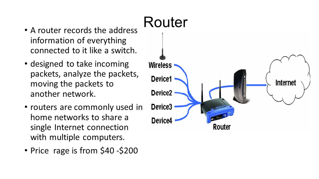 Router A router records the address information of everything connected to it like a switch.