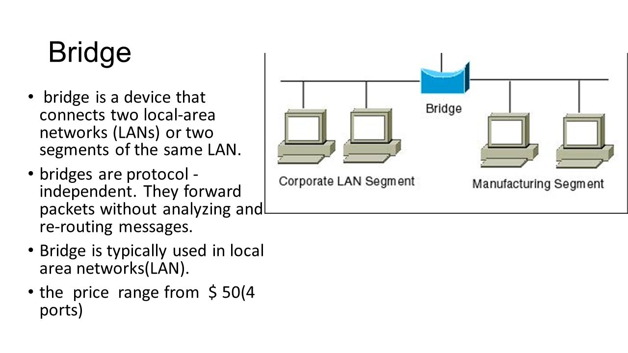 Bridge bridge is a device that connects two local-area networks (LANs) or two segments of the same LAN.