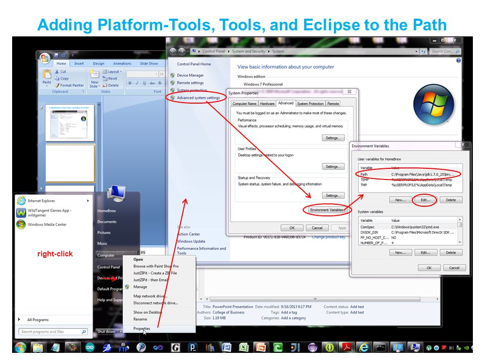 Adding Platform-Tools, Tools, and Eclipse to the Path right-click