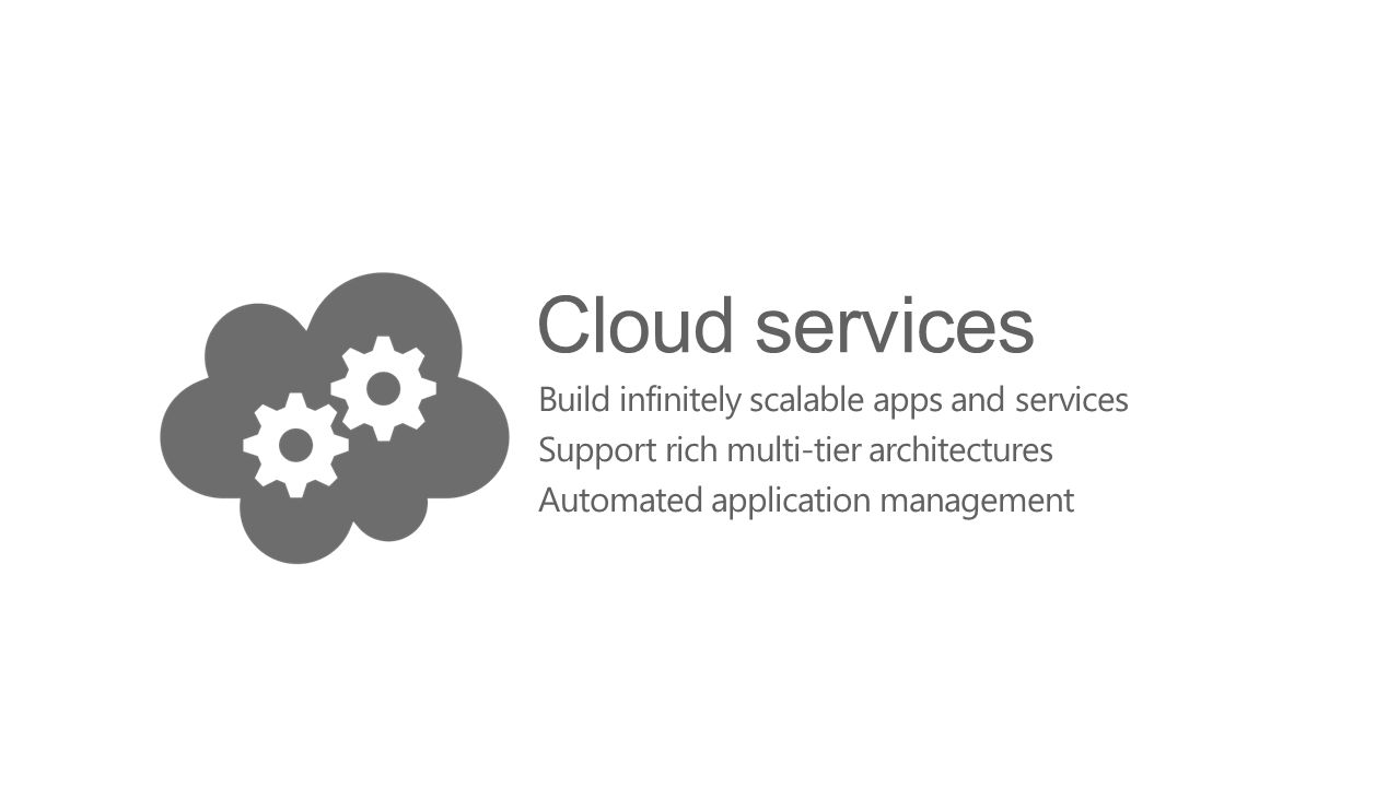 Cloud services Build infinitely scalable apps and services Support rich multi-tier architectures Automated application management