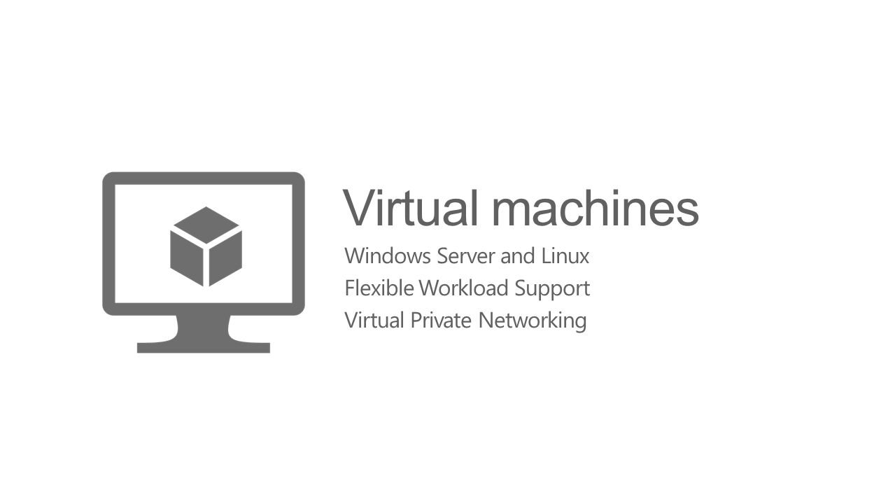 Virtual machines Windows Server and Linux Flexible Workload Support Virtual Private Networking