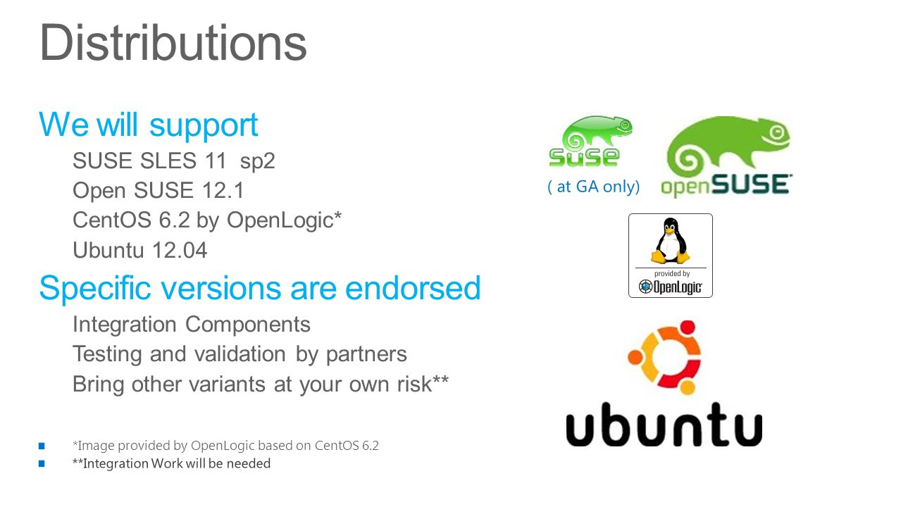 Distributions We will support SUSE SLES 11 sp2 Open SUSE 12.1 CentOS 6.2 by OpenLogic* Ubuntu 12.04 Specific versions are endorsed Integration Components Testing and validation by partners Bring other variants at your own risk** ( at GA only)