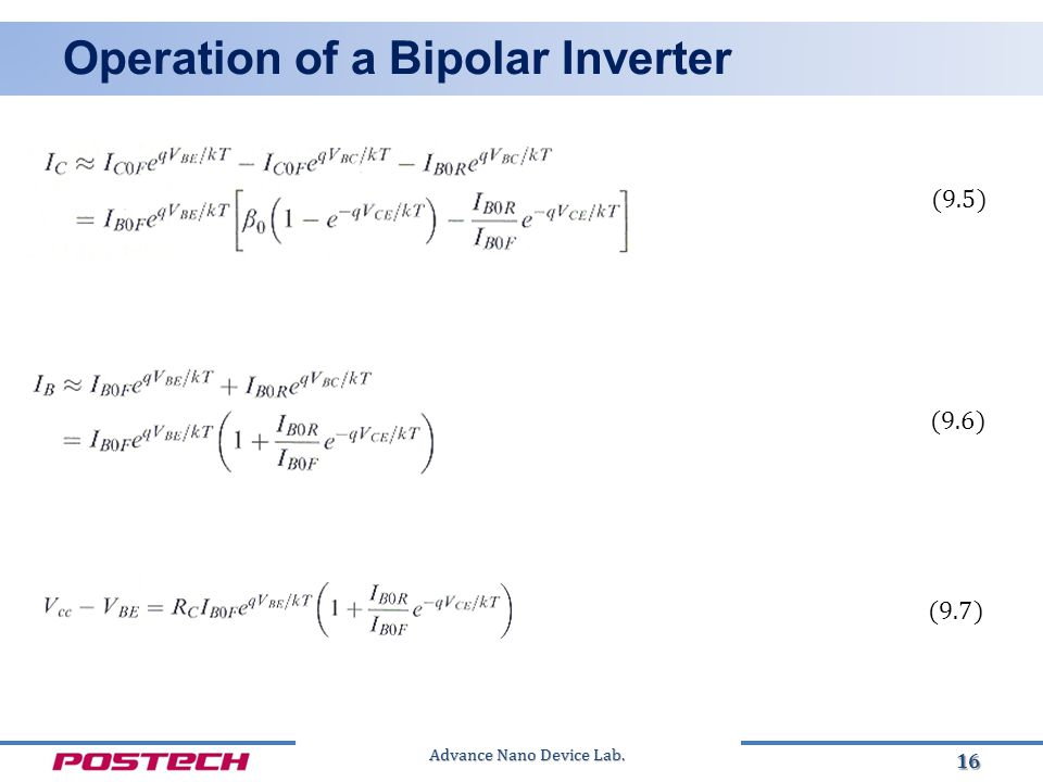 Advance Nano Device Lab. Operation of a Bipolar Inverter 16