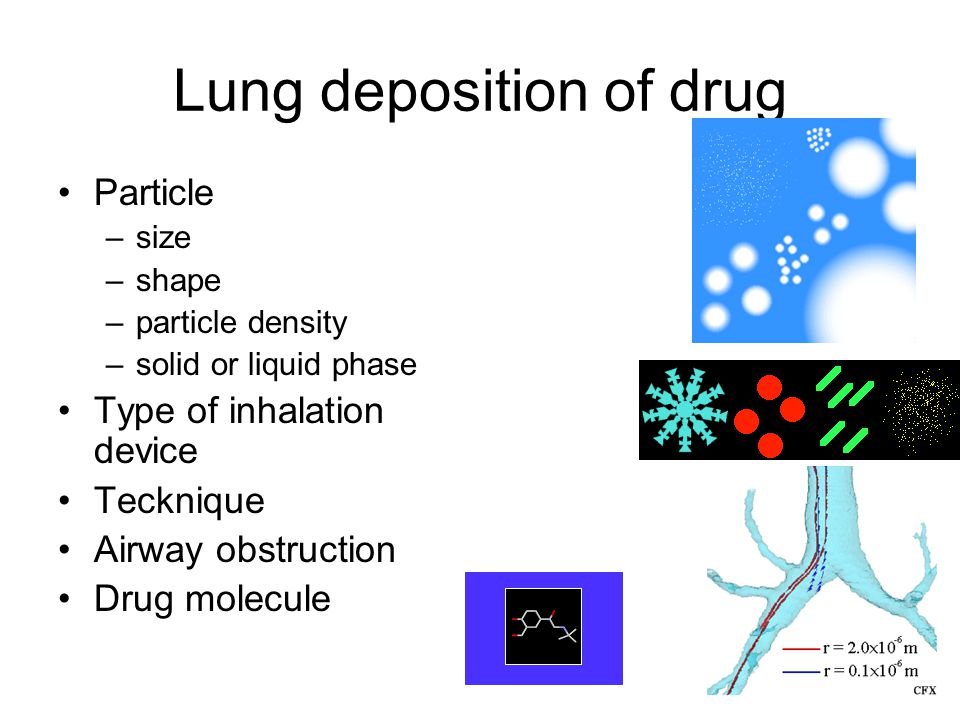 12 Lung deposition of drug Particle –size –shape –particle density –solid or liquid phase Type of inhalation device Tecknique Airway obstruction Drug