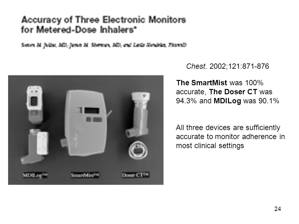 24 Chest. 2002;121:871-876 The SmartMist was 100% accurate, The Doser CT was 94.3% and MDILog was 90.1% All three devices are sufficiently accurate to