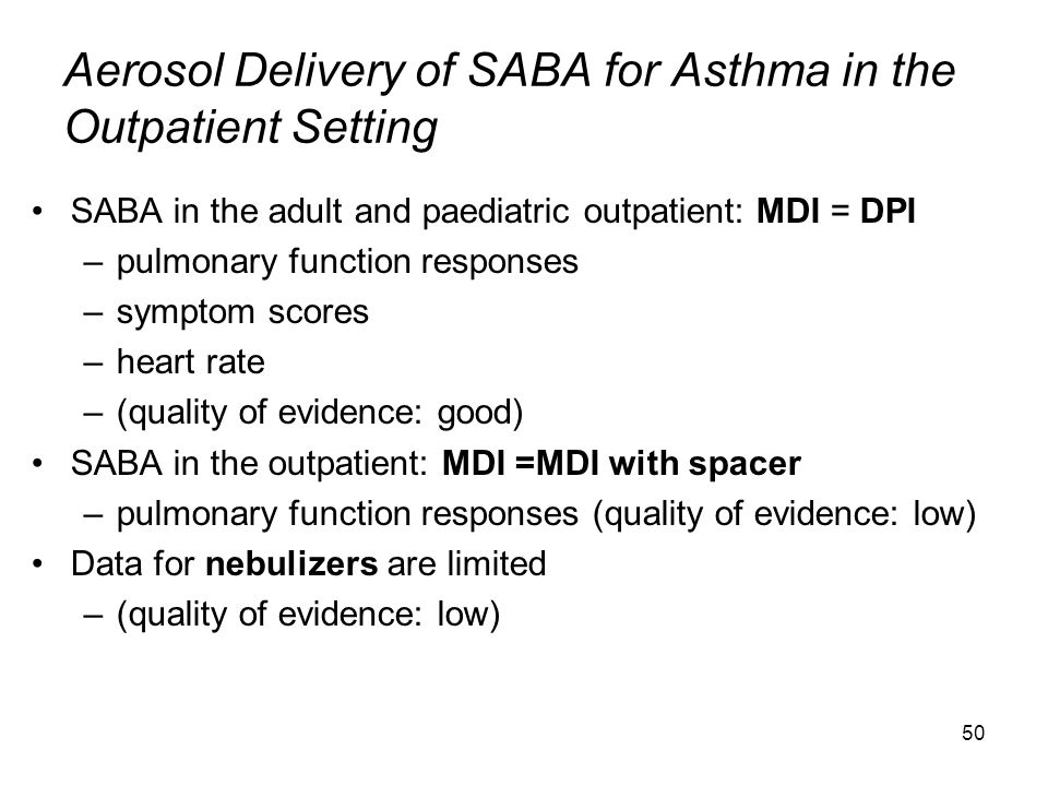 50 Aerosol Delivery of SABA for Asthma in the Outpatient Setting SABA in the adult and paediatric outpatient: MDI = DPI –pulmonary function responses