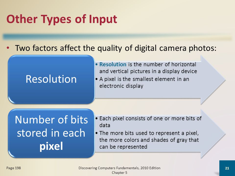 Other Types of Input Two factors affect the quality of digital camera photos: Discovering Computers Fundamentals, 2010 Edition Chapter 5 21 Page 198 Resolution is the number of horizontal and vertical pictures in a display device A pixel is the smallest element in an electronic display Resolution Each pixel consists of one or more bits of data The more bits used to represent a pixel, the more colors and shades of gray that can be represented Number of bits stored in each pixel