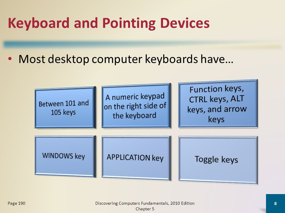 Keyboard and Pointing Devices An ergonomic keyboard has a design that reduces the chance of wrist and hand injuries Ergonomics incorporates comfort, efficiency, and safety into the design of the workplace Discovering Computers Fundamentals, 2010 Edition Chapter 5 9 Page 190 Click to view Web Link, click Chapter 5, Click Web Link from left navigation, then click Ergonomics below Chapter 5