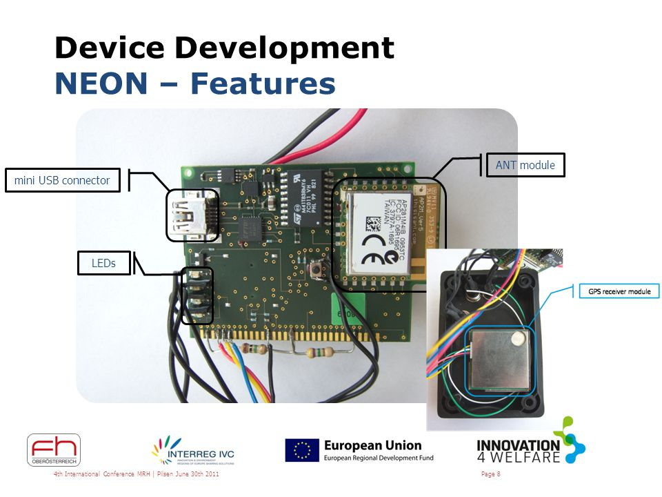 Device Development NEON – Features Compatible with all ANT(+) devices – e.g.