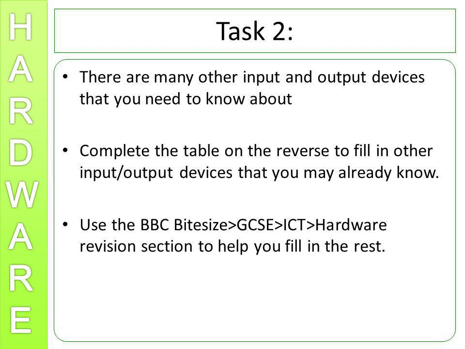 Task 2: There are many other input and output devices that you need to know about Complete the table on the reverse to fill in other input/output devi