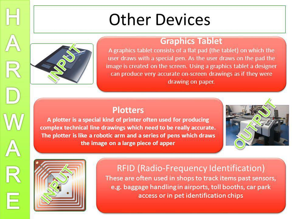 Other Devices Graphics Tablet A graphics tablet consists of a flat pad (the tablet) on which the user draws with a special pen. As the user draws on t