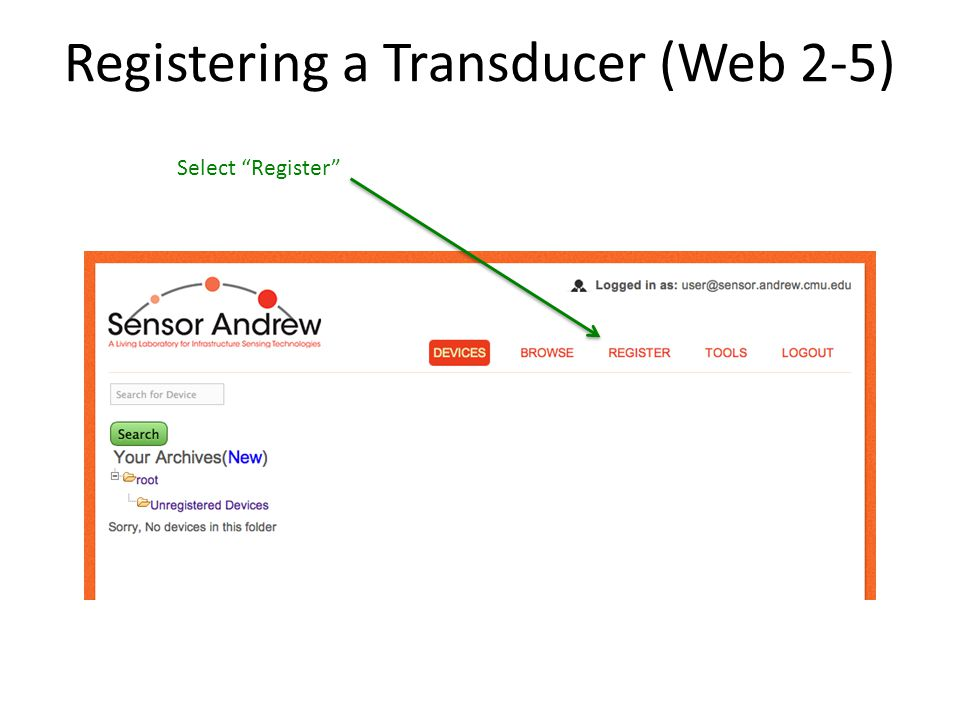 Registering a Transducer (Web 2-5) Select Register
