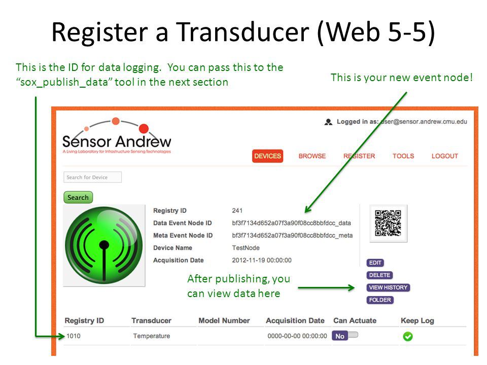 Register a Transducer (Web 5-5) This is your new event node.