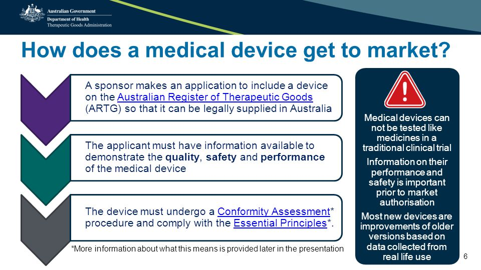 Benefit versus risk approach 7 A device may be selected for review by the TGA once it is on the market.