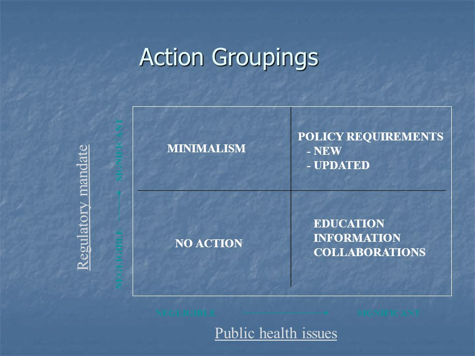 Action Groupings Public health issues NEGLIGIBLESIGNIFICANT Regulatory mandate NEGLIGIBLE SIGNIFICANT NO ACTION EDUCATION INFORMATION COLLABORATIONS MINIMALISM POLICY REQUIREMENTS - NEW - UPDATED