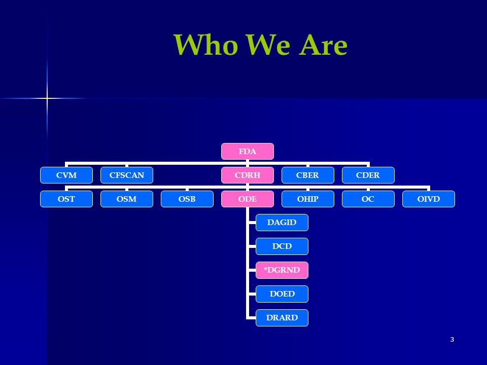 3 FDA CVMCFSCANCDRH OSTOSMOSBODE DAGID DCD *DGRND DOED DRARD OHIPOCOIVD CBERCDER Who We Are
