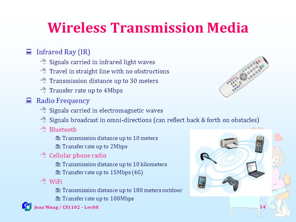 Wireless Transmission Media Infrared Ray (IR) Signals carried in infrared light waves Travel in straight line with no obstructions Transmission distan