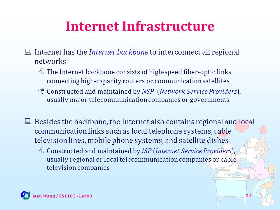 24 Internet Infrastructure Internet has the Internet backbone to interconnect all regional networks The Internet backbone consists of high-speed fiber