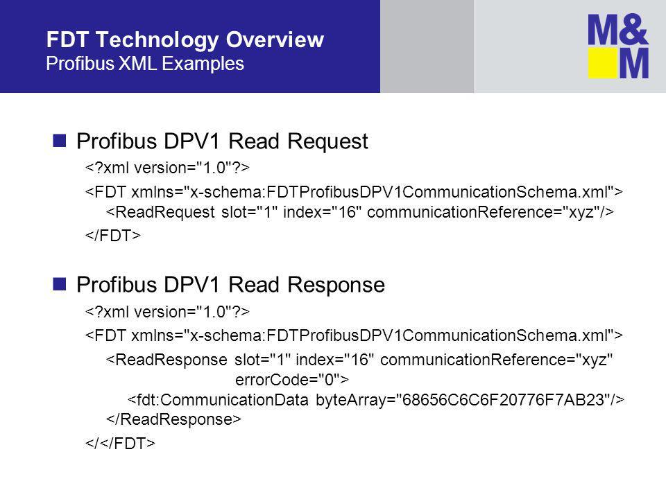 Profibus DPV1 Read Request Profibus DPV1 Read Response FDT Technology Overview Profibus XML Examples