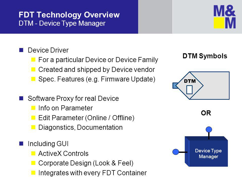 FDT Technology Overview DTM - Device Type Manager Device Driver For a particular Device or Device Family Created and shipped by Device vendor Spec.