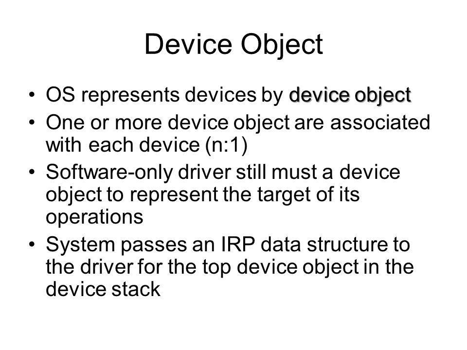 Device Object device objectOS represents devices by device object One or more device object are associated with each device (n:1) Software-only driver