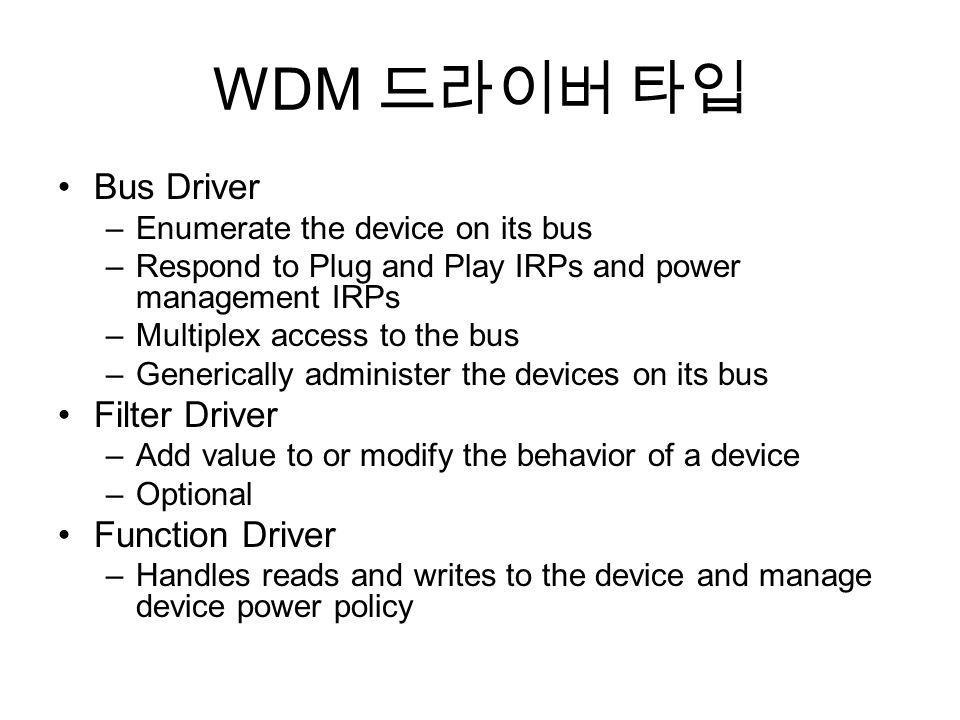 WDM Bus Driver –Enumerate the device on its bus –Respond to Plug and Play IRPs and power management IRPs –Multiplex access to the bus –Generically adm