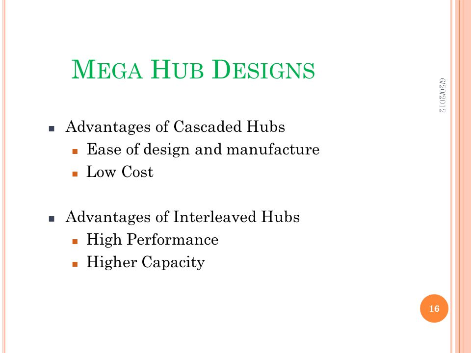 M EGA H UB D ESIGNS Advantages of Cascaded Hubs Ease of design and manufacture Low Cost Advantages of Interleaved Hubs High Performance Higher Capacity 6/20/