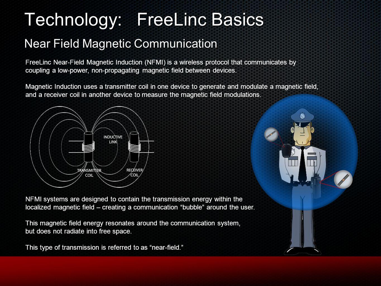Technology: FreeLinc Basics Near Field Magnetic Communication FreeLinc Near-Field Magnetic Induction (NFMI) is a wireless protocol that communicates b