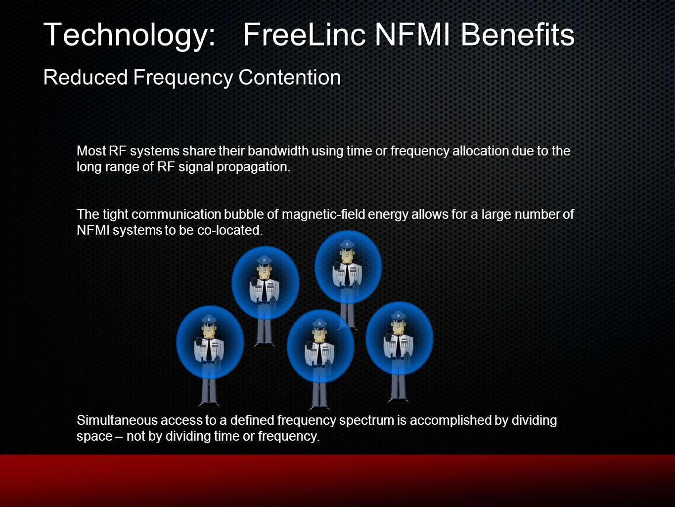 Technology: FreeLinc NFMI Benefits Reduced Frequency Contention Most RF systems share their bandwidth using time or frequency allocation due to the long range of RF signal propagation.