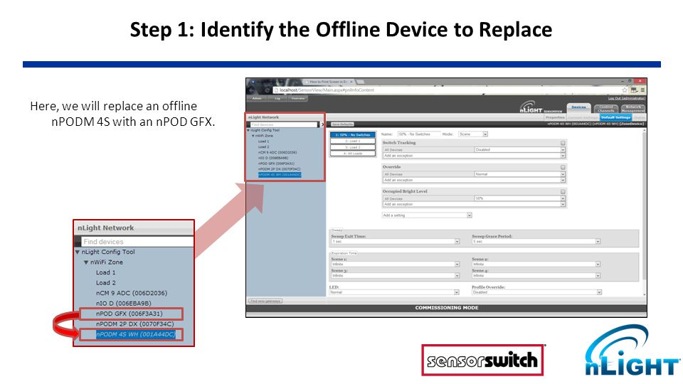 Step 2: Copying the Settings To perform the replace operation, select the new device (nPOD GFX) and go to its Properties, shown on right.