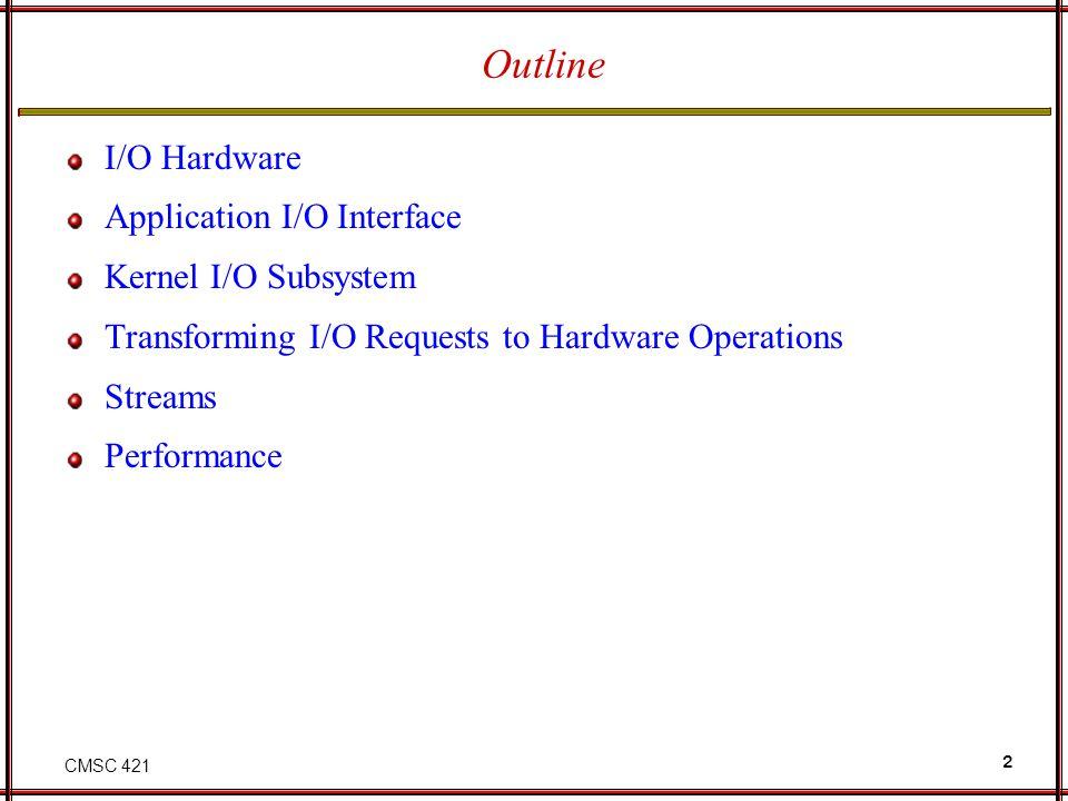 CMSC 421 13 A Kernel I/O Structure