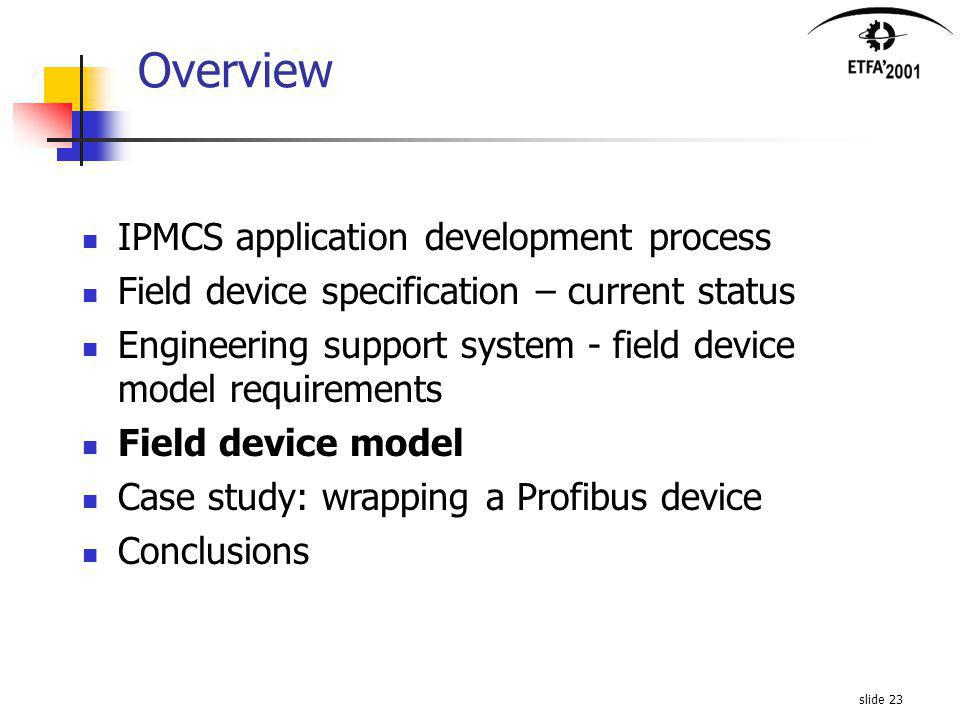 slide 23 Overview IPMCS application development process Field device specification – current status Engineering support system - field device model requirements Field device model Case study: wrapping a Profibus device Conclusions