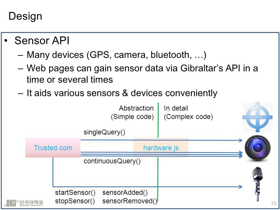 Design Sensor API –Many devices (GPS, camera, bluetooth, …) –Web pages can gain sensor data via Gibraltars API in a time or several times –It aids var