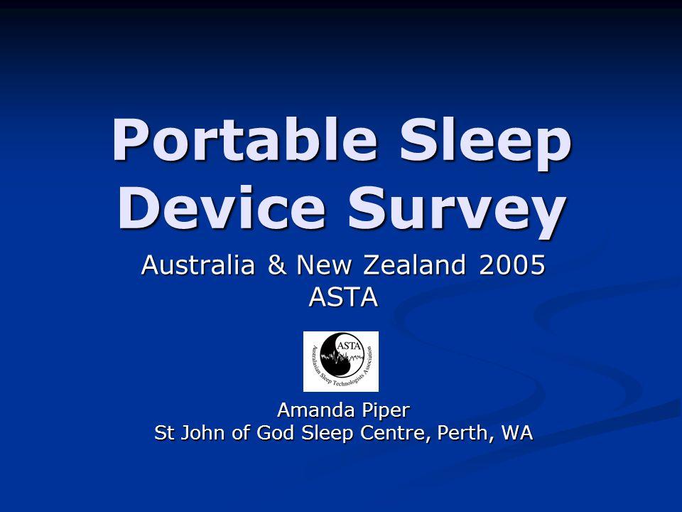 Portable Sleep Device Survey Australia & New Zealand 2005 ASTA Amanda Piper St John of God Sleep Centre, Perth, WA