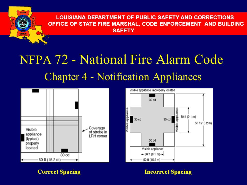 NFPA 72 - National Fire Alarm Code Chapter 4 - Notification Appliances LOUISIANA DEPARTMENT OF PUBLIC SAFETY AND CORRECTIONS OFFICE OF STATE FIRE MARS