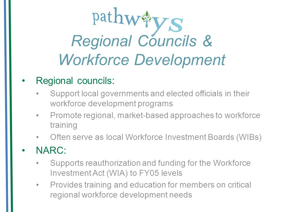 Regional Councils & Workforce Development Regional councils: Support local governments and elected officials in their workforce development programs Promote regional, market-based approaches to workforce training Often serve as local Workforce Investment Boards (WIBs) NARC: Supports reauthorization and funding for the Workforce Investment Act (WIA) to FY05 levels Provides training and education for members on critical regional workforce development needs