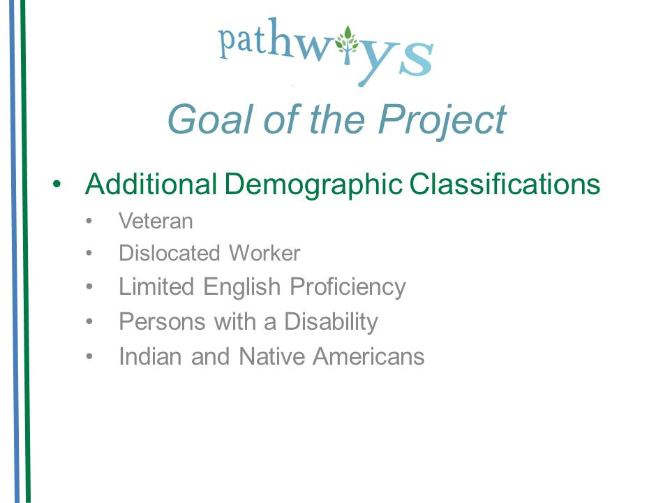 Goal of the Project Additional Demographic Classifications Veteran Dislocated Worker Limited English Proficiency Persons with a Disability Indian and Native Americans