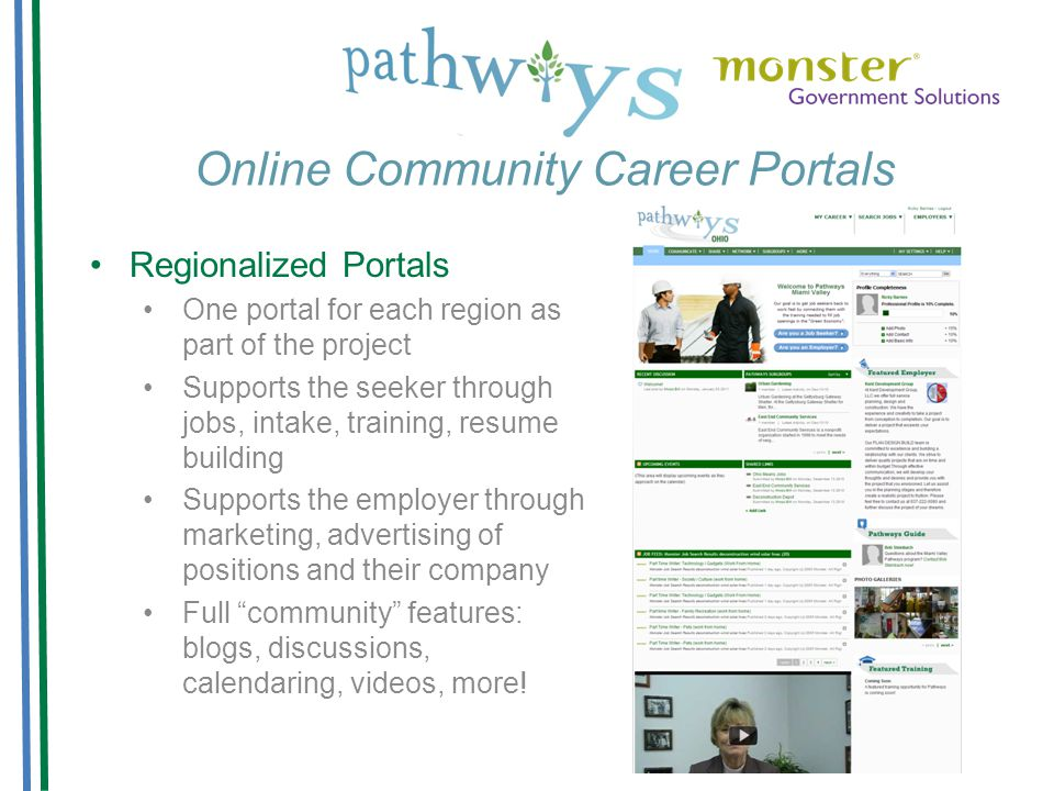 Online Community Career Portals Regionalized Portals One portal for each region as part of the project Supports the seeker through jobs, intake, training, resume building Supports the employer through marketing, advertising of positions and their company Full community features: blogs, discussions, calendaring, videos, more!