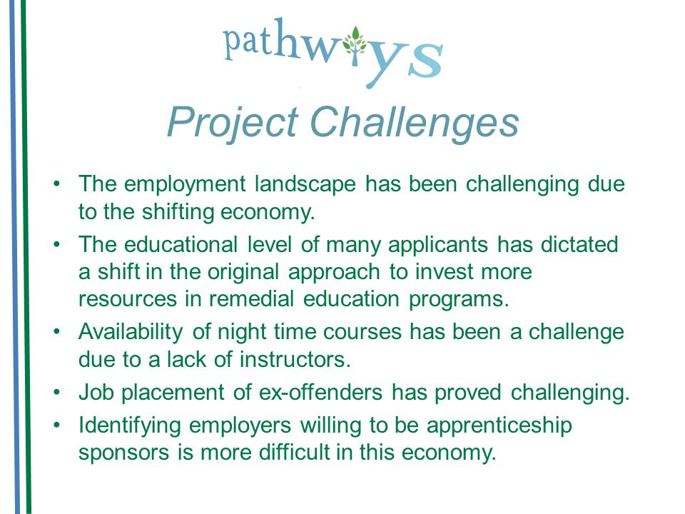 Project Challenges The employment landscape has been challenging due to the shifting economy.