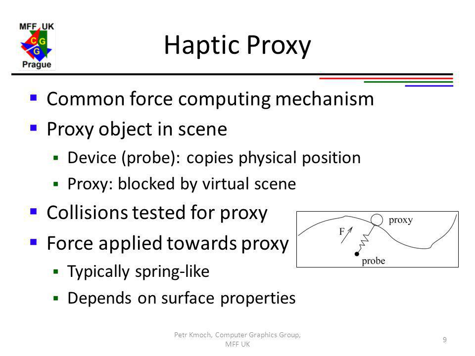 Haptic Proxy Common force computing mechanism Proxy object in scene Device (probe): copies physical position Proxy: blocked by virtual scene Collisions tested for proxy Force applied towards proxy Typically spring-like Depends on surface properties Petr Kmoch, Computer Graphics Group, MFF UK 9