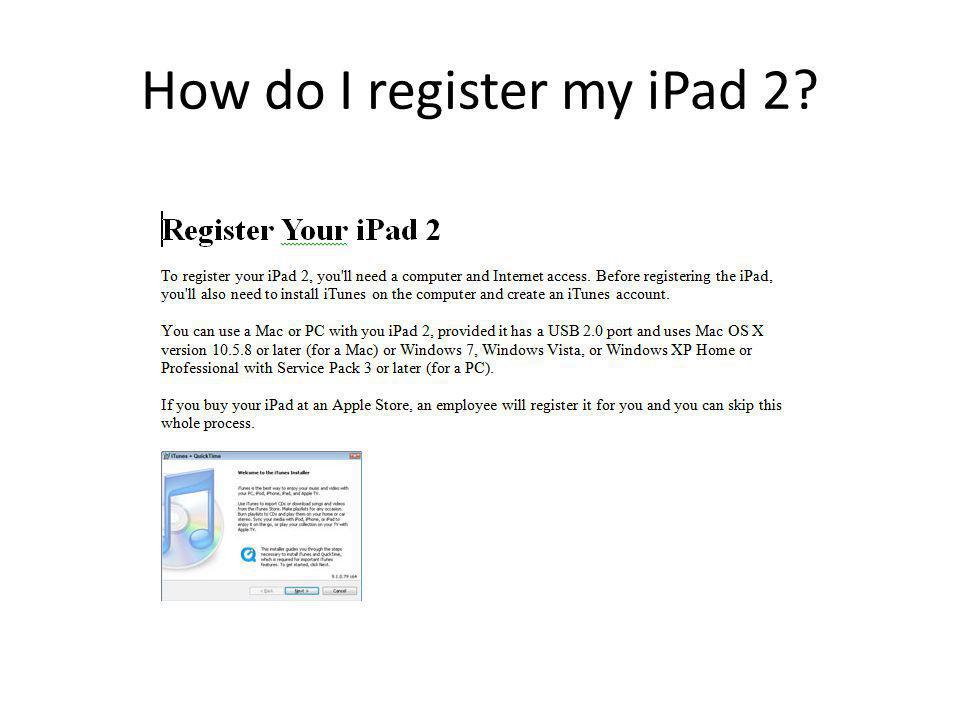 How do I register my iPad 2?