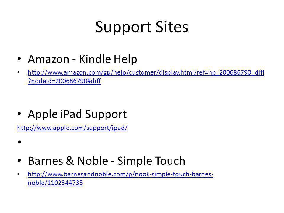Support Sites Amazon - Kindle Help http://www.amazon.com/gp/help/customer/display.html/ref=hp_200686790_diff ?nodeId=200686790#diff http://www.amazon.