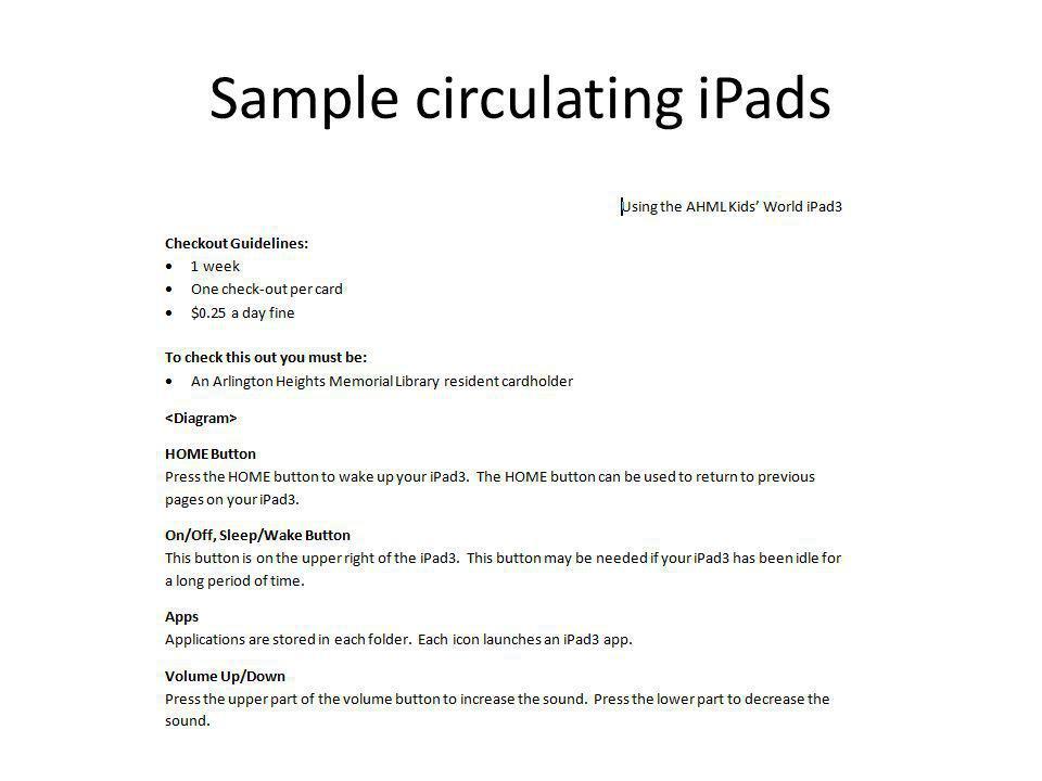 Sample circulating iPads